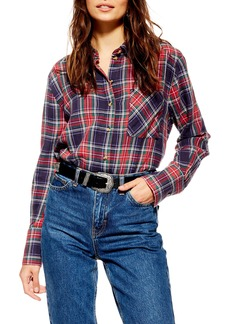 Topshop Pacey Washed Check Plaid Shirt