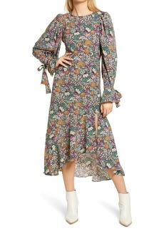 Topshop Paisley Floral Print Long Sleeve High/Low Dress
