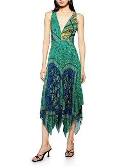 Topshop Paisley Handkerchief Hem Pinafore Midi Dress