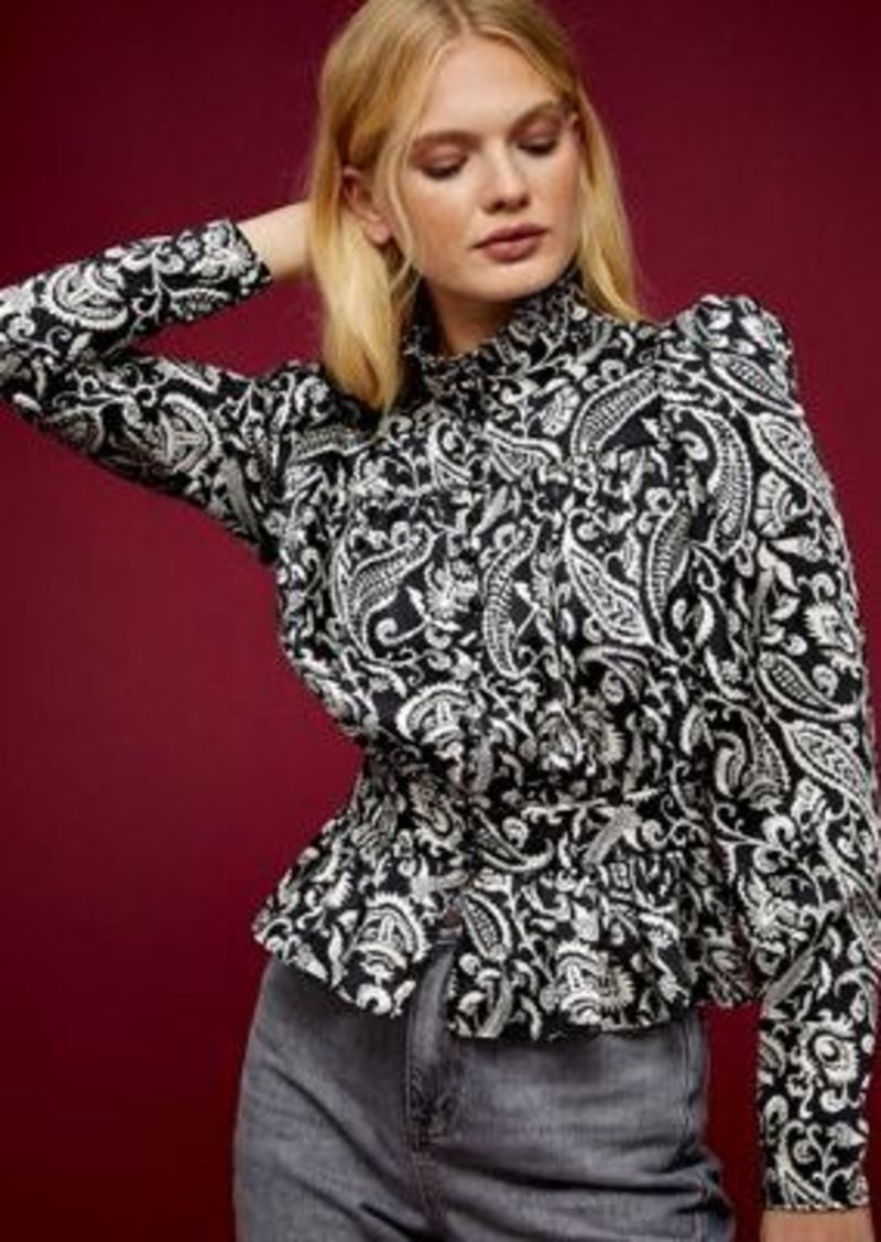 Topshop paisley high neck blouse in monochrome