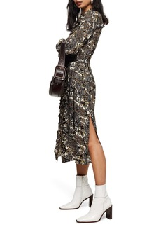 Topshop Paisley Print Long Sleeve Shirtdress (Petite)
