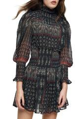 Topshop Paisley Smocked Long Sleeve Minidress