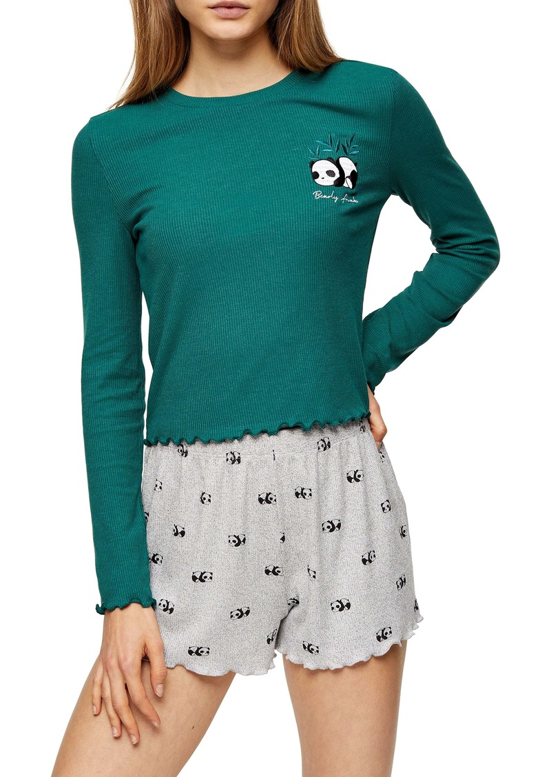 Topshop Panda Ribbed Two-Piece Pajama Set