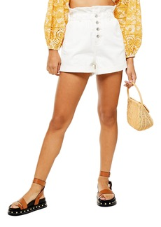 Topshop Paperbag Denim Shorts