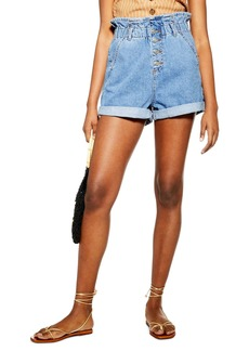 Topshop Paperbag High Waist Denim Shorts (Regular & Petite)
