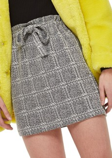 Topshop Paperbag Waist Checkered Skirt