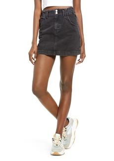Topshop Paperbag Waist Denim Miniskirt