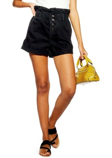 Topshop Paperbag Waist Denim Shorts