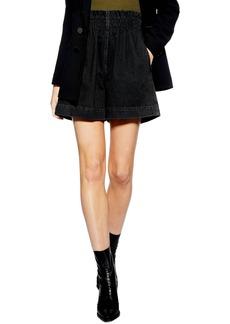 Topshop Paperbag Waist Denim Shorts (Washed Black)