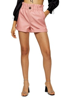 Topshop Paperbag Waist Faux Leather Shorts
