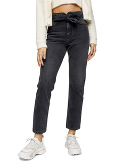 Topshop Paperbag Waist Straight Leg Jeans