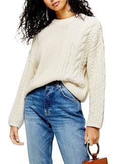Topshop Patch Cable Crewneck Sweater