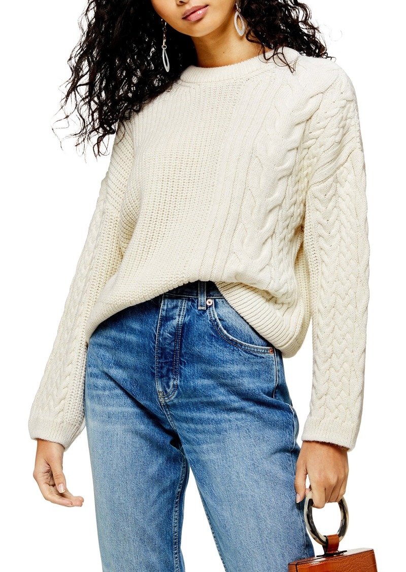Topshop Patch Cable Crewneck Sweater
