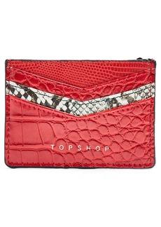 Topshop Paz Snakeskin Print Detail Faux Leather Card Holder