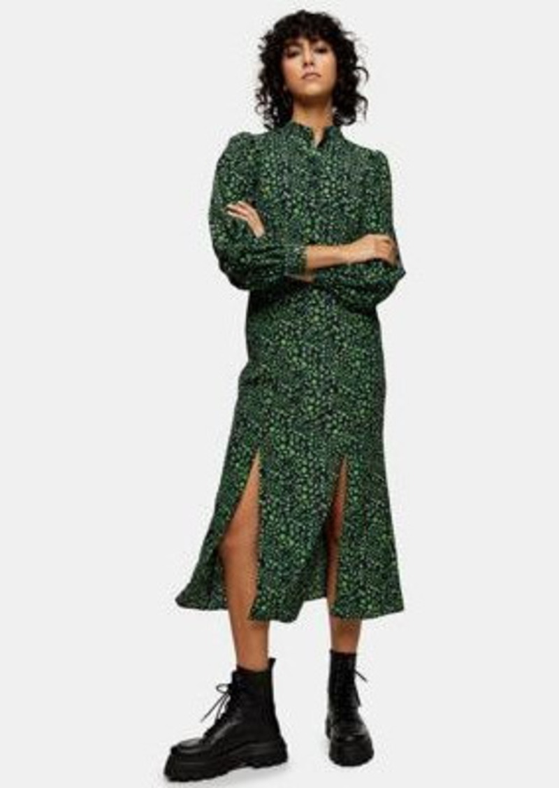 Topshop peacock print midi dress in green