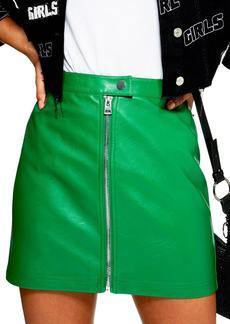 Topshop Penelope Faux Leather Miniskirt (Regular & Petite)