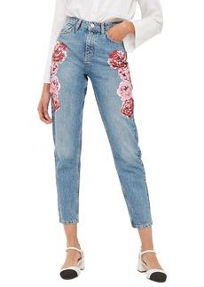 Topshop Peony Print Crop Mom Jeans