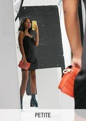 Topshop Petite gathered bust mini slip dress in black