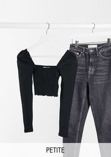 Topshop Petite long sleeve shirred top in black