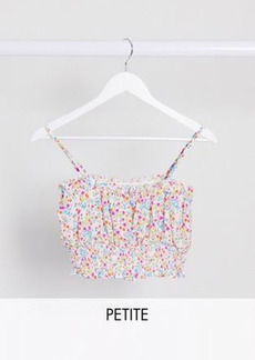 Topshop Petite shirred sun top in pink floral