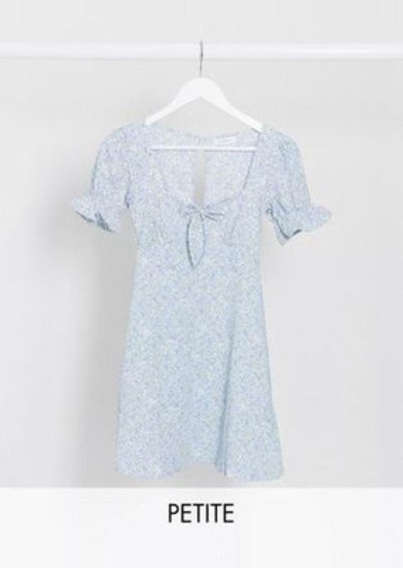 Topshop Petite tie front mini tea dress in pale blue