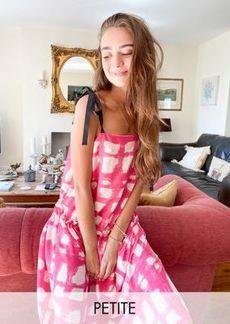 Topshop Petite tie shoulder drop waist midi dress in pink check