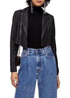 Topshop Pinstripe Crop Blazer