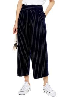 Topshop Pinstripe Crop Wide Leg Cotton & Linen Trousers
