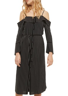 Topshop Pinstripe Midi Shirtdress