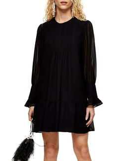 Topshop Pintuck Chuck On Long Sleeve Minidress