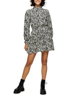 Topshop Pintuck Mock Neck Long Sleeve Minidress