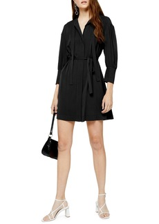 Topshop Pintuck Tie Waist Long Sleeve Minidress