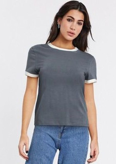 Topshop piped edge t-shirt in charcoal
