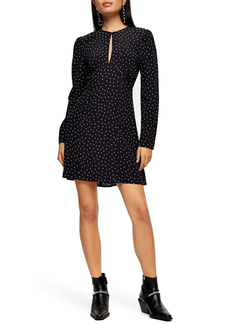 Topshop Piped Keyhole Long Sleeve Minidress