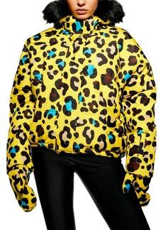 Topshop Piper Water Repellent Leopard Print Jacket & Mittens Set