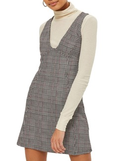 Topshop Plaid A-Line Pinafore Dress