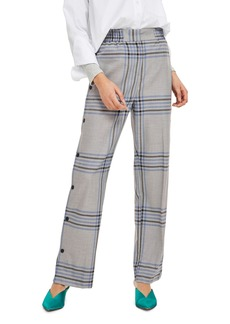 Topshop Plaid Popper Wide Leg Trousers