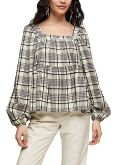 Topshop Plaid Square Neck Smock Top