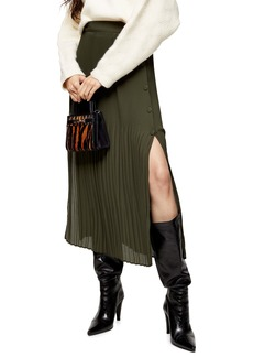 Topshop Pleat Side Button Midi Skirt