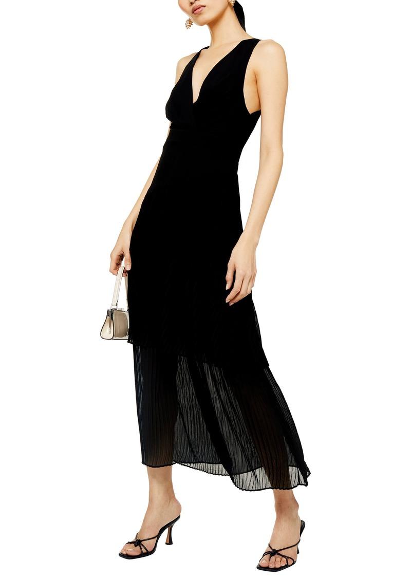 Topshop Pleat Tiered Sleeveless Maxi Dress