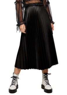 Topshop Pleated Faux Leather Midi Skirt