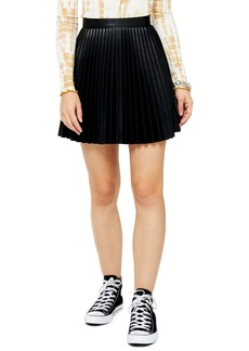 Topshop Pleated Faux Leather Miniskirt