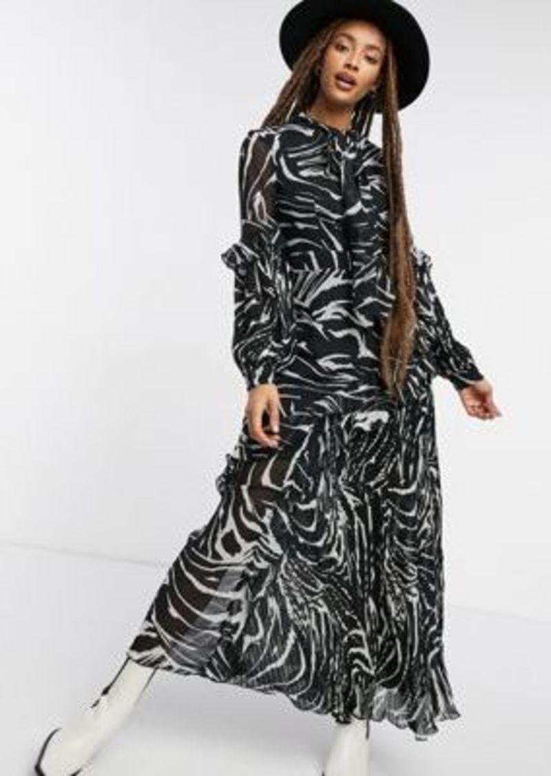 Topshop pleated midi dress in zebra print