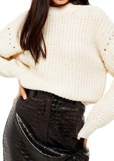 Topshop Pointelle Detail Crewneck Sweater