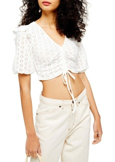 Topshop Pointelle Ruched Crop Top