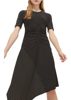 Topshop Polka Dot Asymmetrical Midi Dress