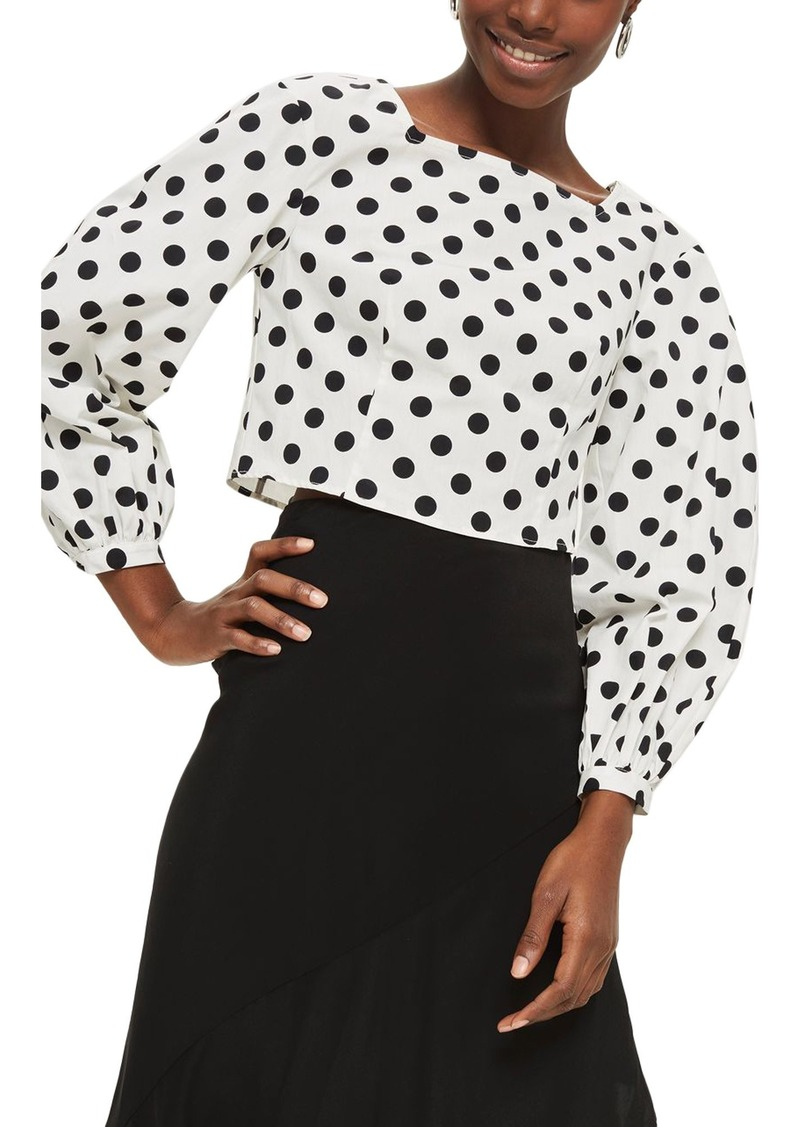 b5c9f3304841f0 Topshop Topshop Polka Dot Balloon Sleeve Crop Top