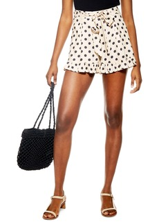 Topshop Polka Dot Frill Hem Shorts