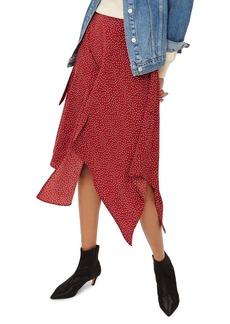 Topshop Polka Dot Handkerchief Hem Skirt