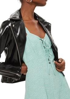 Topshop Polka Dot Lace-Up Minidress